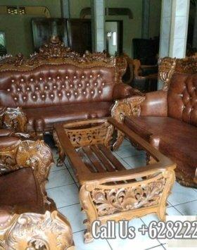 Kursi Sofa Tamu Mewah Ukiran Khas Jepara